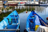 Traditional boats in Bolsena port, Bolsena lake, Lazio, Italy.