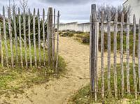 entrance to beach at La Cotiniere, Ile dâ. . Oleron, Charante-Maritime Department, Nouvelle Aquitaine, France.