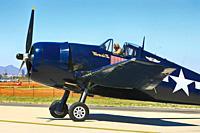 A WW2 USN Grumman F6F Hellcat fighter plane at the Tucson airshow in Arizona.