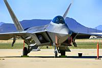 Lockheed F22 Rapter stealth fighter plane of the USAF at Davis-Monthan AFB in Tucson AZ.