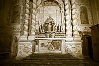 Ancient altar of a Sicilian baroque church.