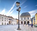 Piazza della loggia a Brescia the marvelous square in Brescia during the first light of the day.