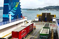 Ferry from Wellington to Picton, New Zealand.