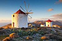 Traditional windmills near Chora village on Amorgos island in Greece. .