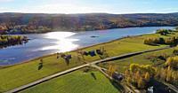 Lake Gensjosjön near Bredbyn in northen Sweden seen from the air on a sunny autumn day.