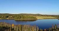 Aerial shot of a glassy lake with farm houses on a sunny autumn day. Skalmsjö, Bredbyn, Västernorrland, Sweden, Europe.
