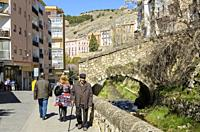 View of path in the old town, Cuenca city, Spain