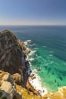 View at Cape point with bushes and ocean, Cape point, South Africa.