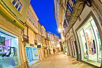 Street Scene, Tipycal Architecture, Old Town, Lugo City, Lugo, Galicia, Spain, Europe.