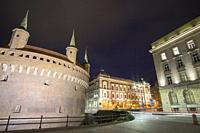 The Arsenal defensive building in Krakow by night Poland.