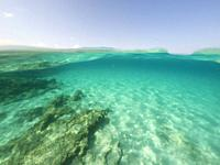 Underwater the turquoise water in El Calo de San Agusti Formentera island Balearics Spain.