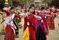 Guwahati, Assam, India. March 28, 2019. Perticipants during a Bihu Dance workshop ahead of Rongali Bihu Festival in Guwahati, Assam on Thursday, March...