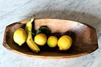 Banana, lemon still life, backround.