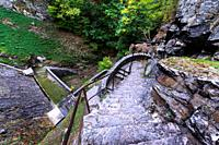 Stairs of the barrage of Furan lake close to Saint Etienne.