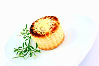 Puff pastry stuffed with mushrooms and cheese on white background