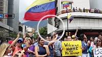 Caracas Venezuela January 30, 2019 Crisis in Venezuela: Protesters hold banners welcoming Donald Trump aggressive moves on Venezuela and Juan Guaido, ...