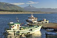 View of Corcovado Volcano across the bay from Chaiten, Patagonia, Region de los Lagos, Chile.