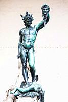 Perseus with the Head of Medusa is a bronze sculpture made by Benvenuto Cellini in 1545. from the back, you can see the self-image of the sculptor Cel...