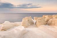 Volcanic rock formations on Sarakiniko beach on Milos island, Greece. .