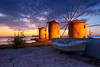 Blue hour image of the iconic windmills in Chios town. .