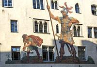 Goliathhaus (1260) with its 16th c. fresco, Regensburg, Bavaria, Germany.