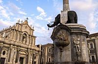 Saint Agathe Cathedral and U Liotru, Catania, Sicily, Italy.