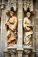 Statues of The Gothic Puerta de Campanilla entrance door of the Cathedral of Seville, Spain.