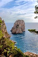 Faraglioni rock on Capri island, Italy. One of magic views in Capri island, close to Naples. By the way, locals say that they have seen sirens on this...