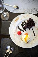 Chocolate dessert at A Raposa restaurant in Sintra, Portugal.