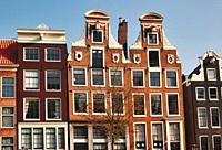 Row of typical Dutch canal houses, Amsterdam, Netherlands, Europe