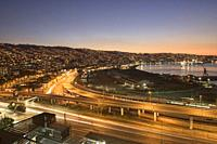 Evening view of the city and bay, Valparaiso, Chile.