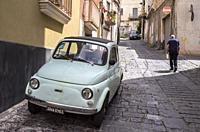 Fiat 500, Catania, Sicily, Italy, Bronte, Catania, Sicily, Italy.