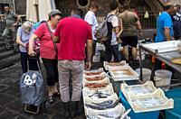 Pescheria, Fish Market, Alonzo di Benedetto square, Catania, Sicily, Italy.