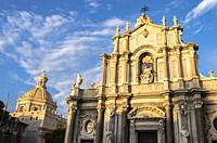 Saint Agathe Cathedral and Badia di Sant'Agata's dome, Catania, Sicily, Italy.