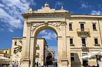 Porta Real, Noto, Siracusa, Sicily, Italy.