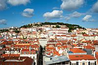 Lisbon, Portugal, Europe - An elevated view of the historic city district Baixa with the Castelo de Sao Jorge in the backdrop.
