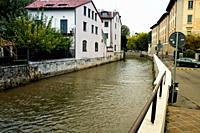 Monza, Brianza, Lombardy, Northern Italy. The Lambro river, which runs through the city.