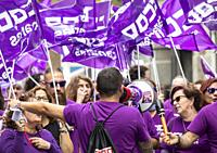 Members of The Workers' Commissions (Spanish: Comisiones Obreras, CCOO) trade union protesting in Las Palmas on Gran Canaria on International Women's ...