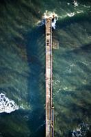View from above of the small pier of Cinquale in Massa Carrara Italy.