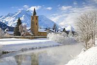 St. Lorenz church, Sils, Graubuenden, Switzerland.
