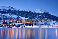 St. Moritz by night, Graubuenden, Switzerland.