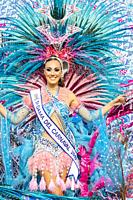 Las Palmas, Gran Canaria, Canary Islands, Spain. 9th March, 2019. Carnival Queens ride on floats as the month long carnival in Las Palmas on Gran Cana...
