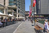 Harbour front cafes and restaurants at Circular Quay in Sydney.