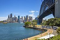 Sydney harbour bridge and cityscape of Sydney across the harbour,Australia.