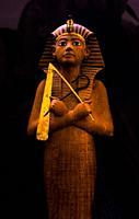 Ushabti figure from the tomb of Tutankhamen at museum. Egypt.