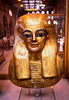 Egypt, Cairo, Egyptian Museum, from the tomb of Yuya and Thuya in Luxor : Gilded mask of Yuya, made of cloth and plaster.