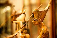 A Golden Statue of king Tutankhamen, The King as Harpooner, New Kingdom, Egyptian museum, Cairo, Egypt.
