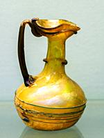 Blown glass double-nodied jug. about AD 100-200 from Syria.