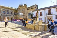 Baeza, Andalusia, Spain: View of the fountain of the Lions, the Arco de Villalar and the Puerta de Jaén.
