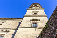 Baeza, Andalusia, Spain: View from below of the cathedral belfry of Santa Maria la Mayor of Baeza.